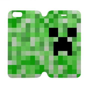 CREEPER MINECRAFT Wallet Case for iPhone 4/4S 5/5S/SE 5C 6/6S Plus Samsung Galaxy S4 S5 S6 Edge Note 3 4 5
