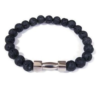 Black Lava Stone Stainless Steel Beaded Bracelet