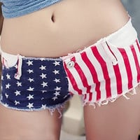 Star Stripe Denim Shorts