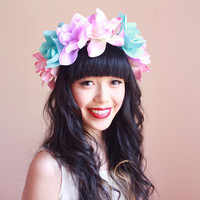 oversize pastel flower head crown - multicoloured floral headpiece, hair wreath, headband, statement, festival, valentines day, love.