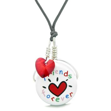Handcrafted Cute Ceramic Lucky Charm Best Friends Forever Red Heart Amulet Pendant Adjustable Necklace