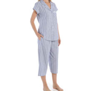 Eileen West 5715923 Summertime Seersucker Notch Collar PJ Set