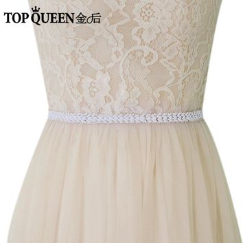 TOPQUEEN S322 -W Wedding Bests Wedding Sash Bridal Sash for Evening Party Hight Quality Pearls Fashion FREE SHIPPING Stock