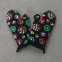 Super Mario Oven Mitts - House Warming Gift - Video Game Kitchen Decor - Video Game Kitchen Decoration