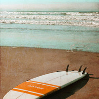Vintage Surfboard Art Print - Retro Beach Surf Orange White Aqua Surfing Beach House Home Decor Wall Art Photograph