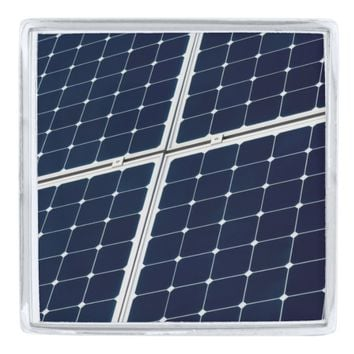 Solar power panel silver finish lapel pin