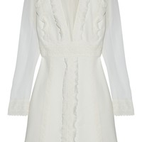 Crochet-trimmed ruffled silk-chiffon and crepe mini dress | GIAMBATTISTA VALLI | Sale up to 70% off | THE OUTNET