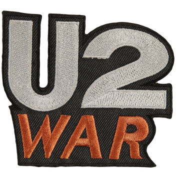 U2 Men's War Die Cut Embroidered Patch Black
