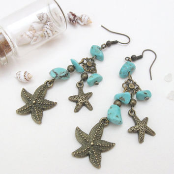 Starfish vintage bronze earrings with turquoise nuggets by PragueVintage
