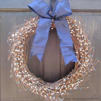 Country Primitive Winter Wreath Rustic Spring Pip Berry Wreath Navy