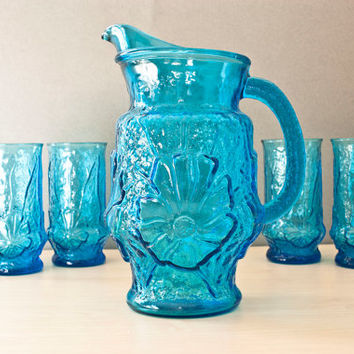 Anchor Hocking Rainflower Pitcher and Tumbler Set, Crushed Ice, Cerulean Blue, 5 Piece, Summer Iced Tea