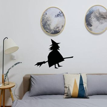 Halloween Witch Standing With Broom 02 Vinyl Wall Decal - Removable (Indoor)