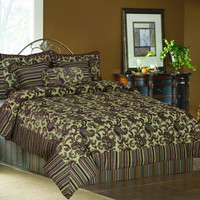 Tache 6 Piece Exotic Blooms Floral Chenille Comforter Set With Zipper-King