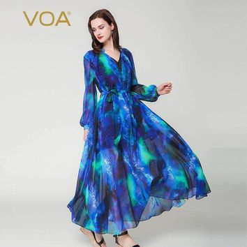 puff long sleeve blue sky v neck double layer silk dress casual lace up plus size women maxi robes Dress