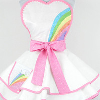 Unicorn Sparkle Glitter Apron with Pastel Rainbows and Pink Bows Ready to Ship