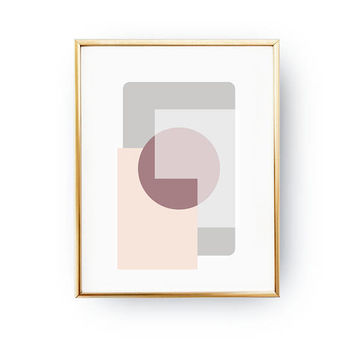 Pink Pastel Rectangles, Textured Art, Geometric Shapes, Simple Decor, Violet Circle Print, Subdued Rectangle, Pastel Decor, Minimal Poster