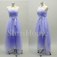 Ruffled Strapless Long High low Sleeveless Bridesmaid Celebrity Dress , Tulle Evening Party Prom New Homecoming Dress