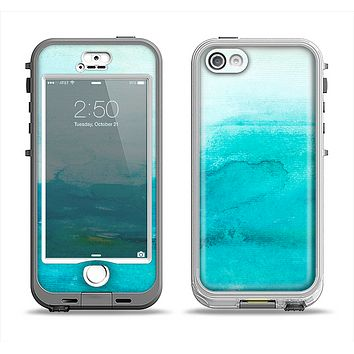 The Grungy Blue Watercolor Surface Apple iPhone 5-5s LifeProof Nuud Case Skin Set
