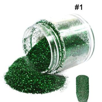 1 Bottle 10g Summer Color Glitter Gem Green Series DIY Creative Powder Nail Art Tips Dust Acrylic Decoration #01/12/25/43