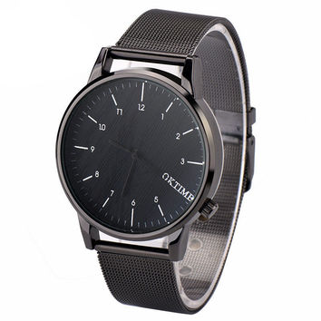 Fashion Men Steel Band Watches - Black Quartz Watches - Business Sport Watch + Gift Box -75