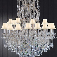 "Maria Theresa Chandelier Dressed With Crystal H 50"" W 37"" With Shades Great For Large Foyer / Entryway! Trimmed With Spectra (Tm) Crystal - Reliable Crystal Quality By Swarovski - G83-Sc/Whiteshade/Cg/2232/24+1Sw"