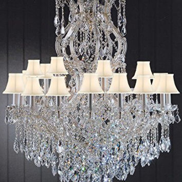"""Maria Theresa Chandelier Dressed With Crystal H 50"""" W 37"""" With Shades Great For Large Foyer / Entryway! Trimmed With Spectra (Tm) Crystal - Reliable Crystal Quality By Swarovski - G83-Sc/Whiteshade/Cg/2232/24+1Sw"""