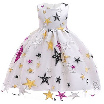 Girls Starry Star Embroidered Dress