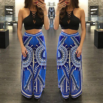Palazzo summer casual pants female Exuma boho elastic high waist flare pants baggy Women loose preppy trousers