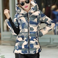 Warm Winter Hodded Army Print Down Jacket YRB0388