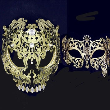 Full Face Venetian Metal Filigree Mask Men Women Skull Masquerade Mask Sets Party Costume Scary Halloween Couple Masks Set Lot