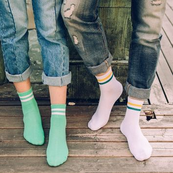 Classic Vintage Women Girls Two Stripes Cotton Socks Retro Old School Student Hiphop Skate White Harajuku Korean