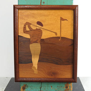 Wood Inlay Golfer Putting Green . 1986 Creative Woods Farmingdale New York . Signed by Artists . List of Woods Used on Back . Dad's Day Gift