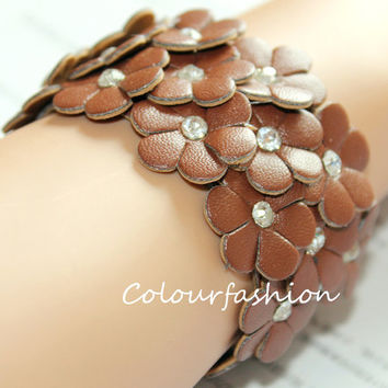 Christmas Gift, Brown Flower leather cuff, wristband watch, rhinestone bangle, Fashion coral, metal buckle, vegetable tanned leather B-4