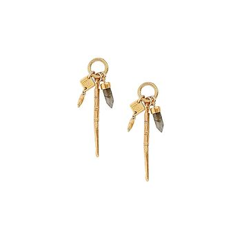 Chan Luu Labradorite Bullet Charms Earrings in Gold