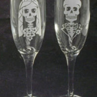 Day of the Dead Halloween Wedding Toasting Flutes Skull | eBay