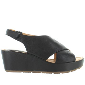 Me Too Arena - Black Leather Slingback Platform/Wedge Sandal
