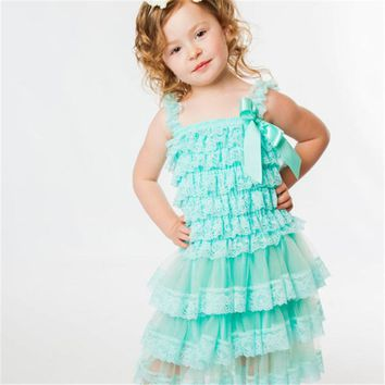 Lace Baby Girls Dress Summer Style Sleeveless Shoulderless Fluffy 3 Layer Flower Princess Pageant Party White Wedding Baby Dress