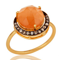 18K Yellow Gold Plated Sterling Silver Peach Chalcedony Stack Ring With CZ