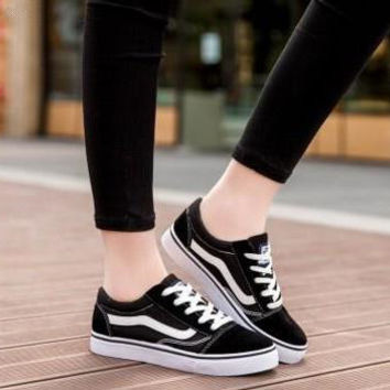 """""""VANS"""" Black And White Classic Fashion All-match Casual Canvas Straps Shoes Single Shoes Flats Shoes Plate Shoes Male Female Couple Shoes"""