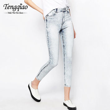 Pencil Pants Jeans High Waist Silver Skinny Jeans Denim Boyfriend High-Waisted Jeans Denim Pant Trousers SM6