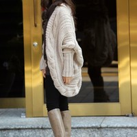 Fashion Large Size Bat-Wing Sleeve Cardigan Sweater at Online Apparel Store Gofavor