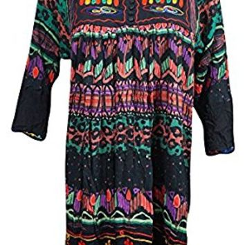 Mogul Womens Flowy Tunic Dress Ethnic Embroidered Front Button Casual Loose Shift Sundress