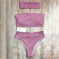 GUCCI tide brand female sexy tube top hooded split swimsuit three-piece suit pink