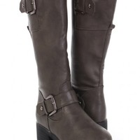 Grey Faux Leather Buckled Strapped Riding Boots