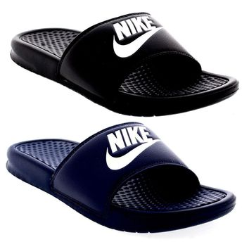 Nike Benassi Sandals Sliders FlipFlops pool slippers JDI Black/Navy/White (#9675