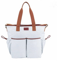 BayB Brand Diaper Tote Bag - Gray Stripe with Saddle Leather Accents