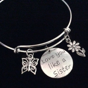 Love You Like A Sister Expandable Charm Bracelet Silver Adjustable Wire Bangle Trendy Gift
