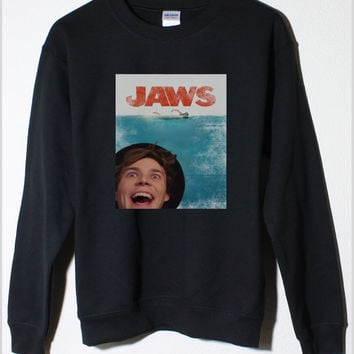 Ashton Irwin 5SOS JAWS Movie Poster Edit Fleece Sweatshirt