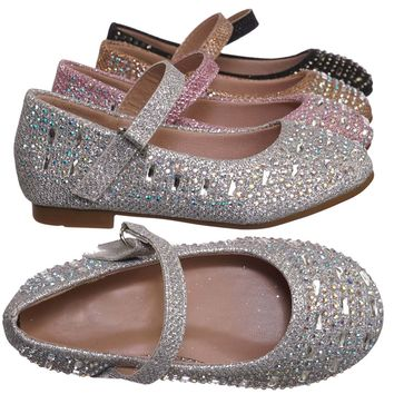 Mika41ka Baby Toddler Ballet Rhinestone Flats - Kids Bling Crystal Glitter Shoes