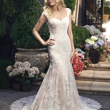 Casablanca Bridal 2215 Cap Sleeve Lace Fit & Flare Wedding Dress